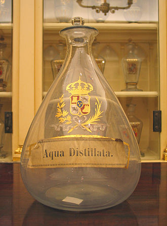 Distilled water - Bottle for distilled water in the Real Farmacia in Madrid.