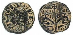 Alfonso the Battler - A denarius of Alfonso's, minted at Jaca, bearing his effigy and the inscription ANFUS-REX ARA-GON (Anfusus rex Aragonensium, King Alfonso of Aragon).