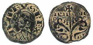 Alfonso the Battler - A denarius of Alfonso's, minted at Jaca, bearing his effigy and the inscription ANFUS-REX ARA-GON (Anfusus rex Aragonensium, King Alfonso of Aragon).