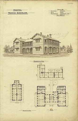 "Warwick, Queensland - Architectural plans of the ""new"" hospital in Locke Street, 1888"