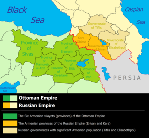 Russian Armenia - Armenia divided between the Russian and Ottoman empires, c. 1900.
