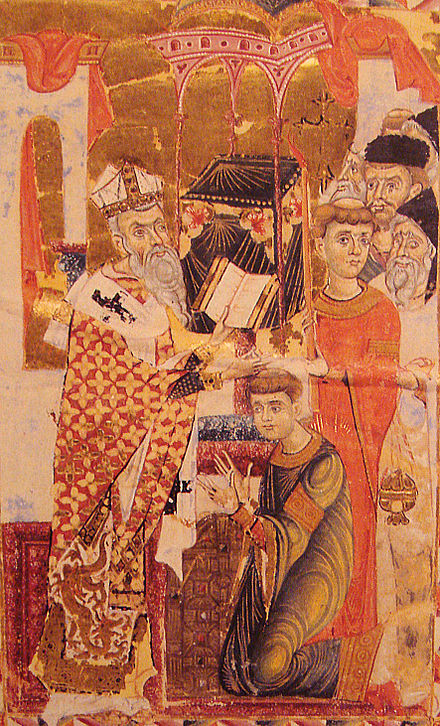 Archbishop John of Cilician Armenia, in a painting from 1287. His dress displays a Chinese dragon, an indication of the thriving exchanges with the Mongol Empire during the reign of Kublai Khan (1260-1294) ArmenianArchibishopJean1287.jpg