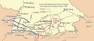Map showing winter quarters of French and Austrian armies, and their convergence on the town of Ostrach in March 1799