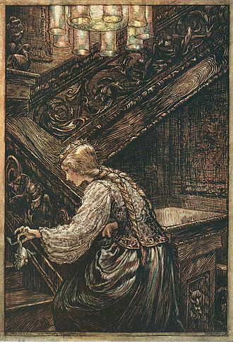 The Frog Prince - Arthur Rackham's illustration to the fairy tale of the Brothers Grimm The Frog Prince