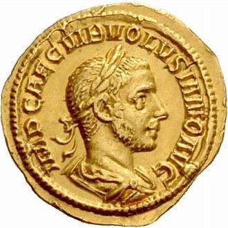 Volusianus - Image: Aureus Volusianus (obverse)