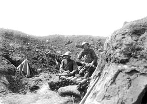 Bullecourt 1917, Jean and Denise Letaille museum -  Australian soldiers with a Stokes mortar on 8 May 1917