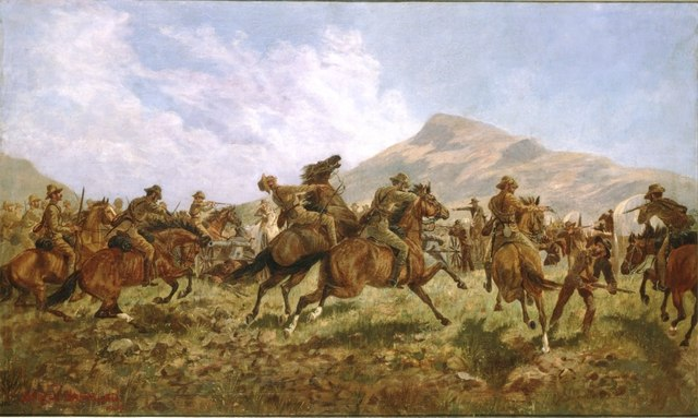 Australians and New Zealanders at Klerksdorp 24 March 1901 by Charles Hammond