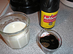 Coffee milk - Coffee milk is prepared with coffee syrup and milk (pictured)