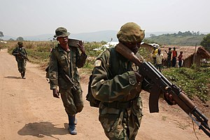Ituri conflict - FARDC soldiers on patrol near Aveba in 2015