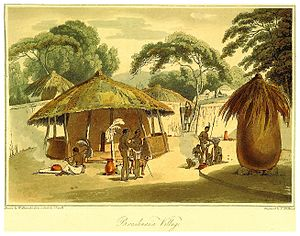 "Botswana - British colonial drawing of a ""Booshuana village"", 1806."