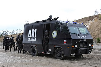 Research and Intervention Brigade - BRI-PP armored truck and hostage rescue team during a demonstration - June 2018