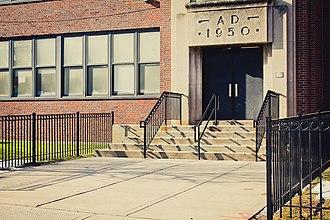 Urban Prep Academies - Main entrance at the South Dearborn Avenue location, 2011.