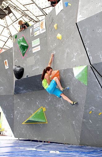 Bouldering - A competitor at the 2012 Boulder World Cup