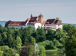 Iburg Castle as seen from the LaGa tower. Bad Iburg, Osnabrück Land, Lower Saxony, Germany