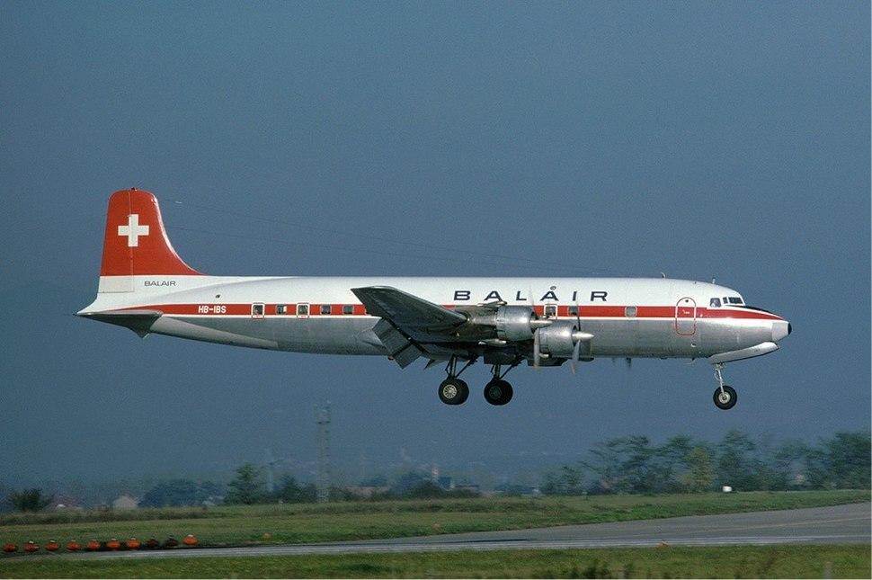 Balair Douglas DC-6 Basle Airport - 1976