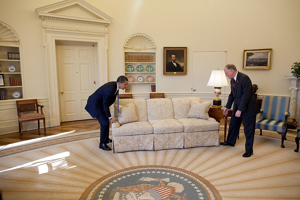 Barack Obama moving couch in the Oval Office