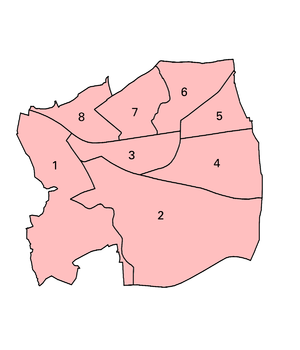 Municipal Borough of Barking - The electoral wards used in the Municipal Borough. 1. Abbey 2. Gascoigne 3. Eastbury 4. Cambell 5. Parsloes 6. Manor 7: Longbridge 8: Park