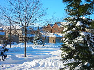 Barrie - Residential condominiums and houses in Barrie after a snowfall