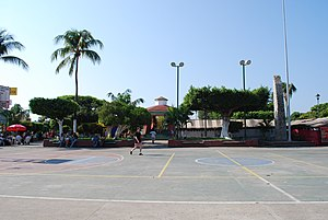 Basketball court and kiosk in city center