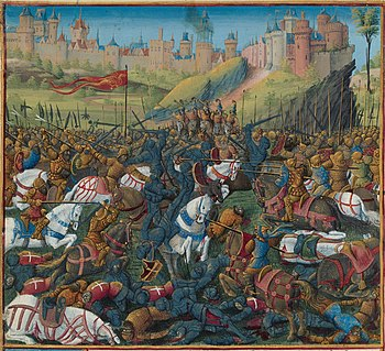 Late medieval depiction of the Battle of Inab from the 14th century