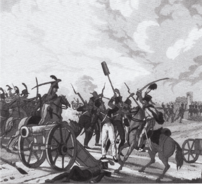 Klenau's cavalry captures Boudet's artillery during the morning combats on 6 July 1809. Battle of Wagram - Klenau captures Boudet's artillery.png