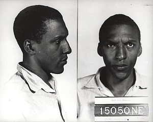 Mug shot of Bayard Rustin.