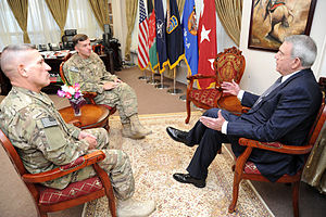 Dan Rather - Rather speaking with Lt. Gen. William B. Caldwell and Sergeant Maj. Beam about the Afghan National Security Forces training mission and other issues at Camp Eggers in Kabul, Afghanistan, on July 26, 2011.