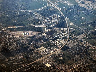 Beech Grove, Indiana - Beech Grove from the air (southeastern part of the City; Amtrak repair yards visible at left center).I-465 is clearly visible in this photo, and its interchange with I-74 is visible in the northeastern corner