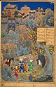 Behzad or Qasim Ali. Iskandar, in the likeness of Husayn Bayqara, visiting the wise man in a cave. Ascribed to Bihzad underneath, but to Qasim ʻAli in the text panel..jpg