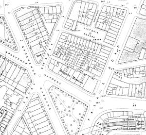 Grosvenor Gardens House - Belgrave Mansions on a 1910s Ordnance Survey map