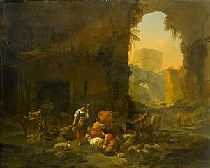 Milkmaids and Sheperds with their Flock at the Mouth of a Grotto, a Drover Watering his Cattle beyond