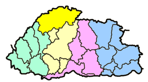 Gasa District - Map of Bhutan showing former borders of Gasa