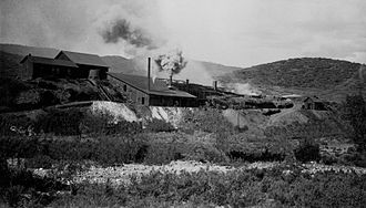 Big Bug, Arizona - The mining smelters in Big Bug, Arizona, circa 1900