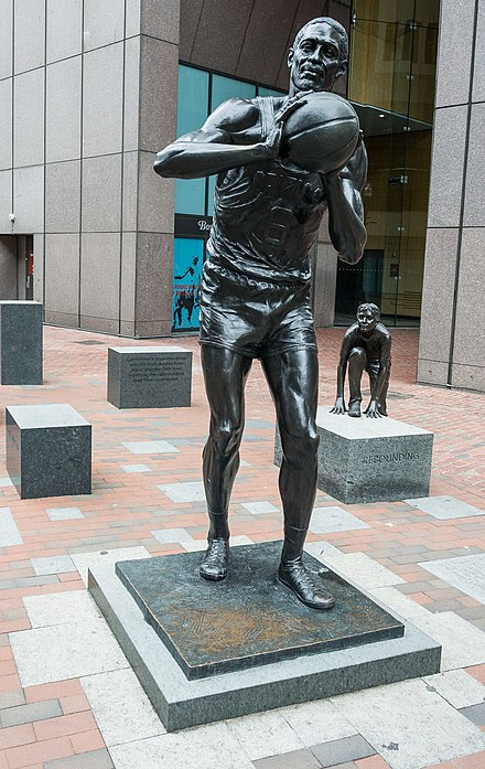 A bronze statue of Russell in Boston, 2013 Bill Russell statue by Ann Hirsch (Boston) (cropped).jpg