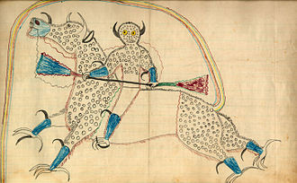 "Ledger art - Drawing by Black Hawk (Sans Arc Lakota), c. 1880 depicting a horned Thunder Being (Haokah) on a horse-like creature with eagle talons and buffalo horns. The creature's tail forms a rainbow that represents the entrance to the Spirit World, and the dots represent hail. Accompanying the picture on the page were the words: ""Dream or vision of himself changed to a destroyer and riding a buffalo eagle."""