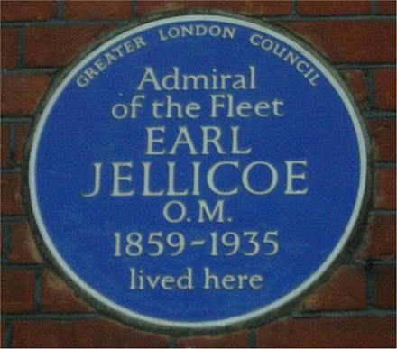 Blue plaque at 25 Draycott-place, (Blacklands Terrace), Cadogan gardens, London, SW3 Blue plaque Earl Jellicoe.jpg