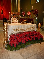 A dozen poinsettias sit on the ground in front of a tablecloth draped in white. A man in white stands behind the table; the altar is in the background.