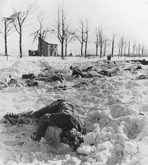Bodies of U.S. officers and soldiers slained by the Nazis after capture near Malmedy, Belgium. - NARA - 196544
