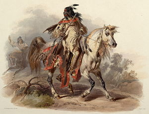 Plains Indians - Blackfoot warrior, painted between 1840 and 1843 by Karl Bodmer