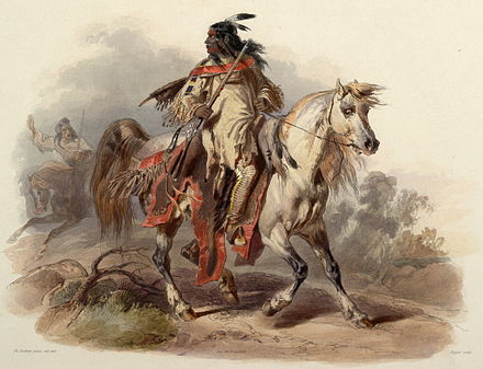 Blackfoot warrior, painted between 1840 and 1843 by Karl Bodmer Bodmer -- Blackfoot Indian, 1840-1843.jpg