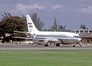 Nigeria Airways - A Nigeria Airways Boeing 737-200 at the domestic apron at Ikeja Airport in July 1974. The type was first delivered to the airline in January 1973.
