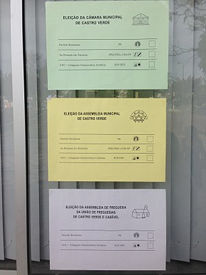 Portuguese local elections, 2017 - Ballots for the 2017 local elections in Castro Verde.