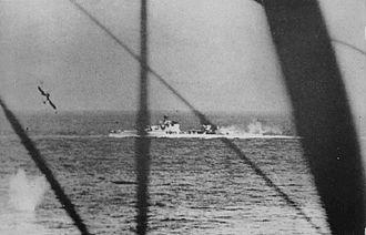 Battle of Cape Matapan - Bolzano under torpedo attack by Fairey Swordfish