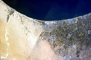 Border between Israel and Egypt visible from space