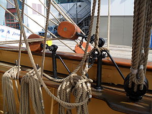 Brace (sailing) - Image: Brace pulleys