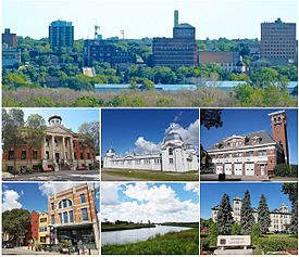 From top left to right: Brandon skyline, Brandon Court House, Dominion Exhibition Display Building II, Brandon Central Fire Station, Downtown Brandon, رود آسینیبوین، University of Brandon.