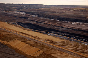 "Castanopsis - Strip mining for fossil Castanopsis in the form of lignite (""brown coal""). Garzweiler (Germany), 2006. Click to enlarge; note Bagger 288 and 289 in the left background."