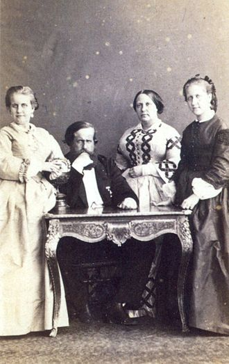 Teresa Cristina of the Two Sicilies - Leopoldina, Pedro II, Teresa Cristina (around age 41) and Isabel, c. 1863