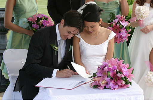 Bride and groom signing the book