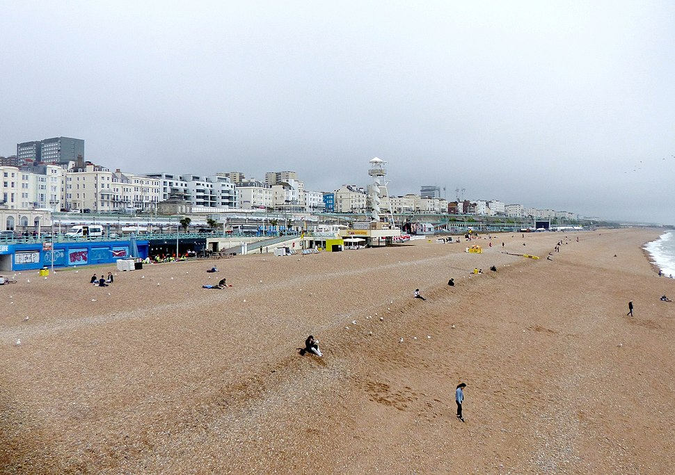 Brighton Beach, looking from Palace Pier eastwards, East Sussex, England 19June2018 arp